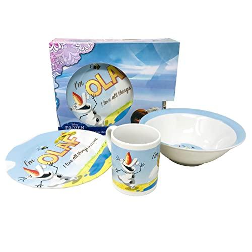 Frozen Vajilla Infantil 3 piezas Taza, Plato y Cuenco. Set de Desayuno Infantil de Porcelana. Juego de regalo para niñas Frozen Ana, Elsa y Olaf