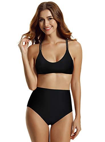 zeraca Women's High Waisted Bralette Bikini Bathing Suits (Black 18, Small / 6)