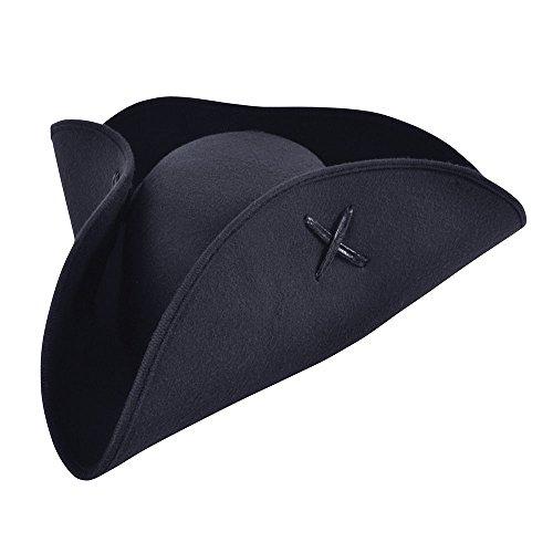 Bristol Novelty BH653 Piraten-Tricorn-Hut aus schwarzem Wollfilz, Unisex-Erwachsene, Einheitsgröße