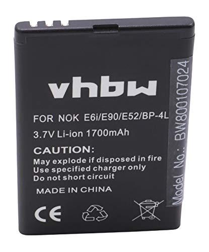 vhbw Akku kompatibel mit Wexler E6002 Handy Smartphone Handy (1700mAh, 3,7V, Li-Ion)