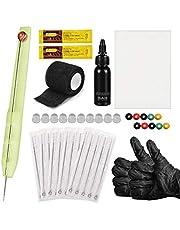 Hand Poke and Stick Tattoo Kit, Stick and Poke Pen Kit DIY Tattoo Supply Inkt Handschoenen Tattoo Naalden Oefenhuid Set Tattoo Kit voor Tattoo-artiesten
