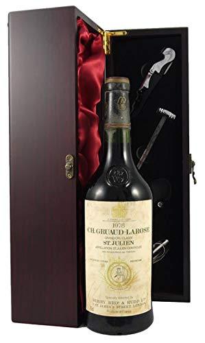 Chateau Gruaud-Larose 1978 2eme Grand Cru Classe St Julien en una caja de regalo forrada de seda con cuatro accesorios de vino, 1 x 750ml