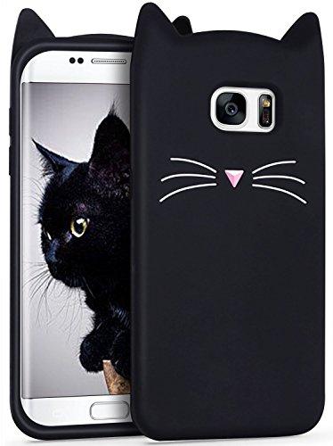 Mulafnxal Noir Chat Coque pour Samsung Galaxy S6 Edge Plus,Housses de téléphone,TPU Silicone Etui,Mignon 3D Cartoon Dessin Animé Animaux Pink Fille Femmes,Cute Kids Girls Case pour S6edge Plus