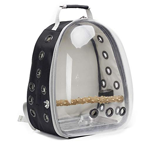Jerrycat Bird Carrier Backpack, Bubble Bird Travel Carrier Backpack with Stainless Steel Tray and Standing Perch