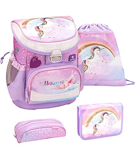 Belmil ergonomischer Schulranzen Set 4 -teilig für Mädchen 1, 2 Klasse Grundschule/Super Leicht 750-800 g/Brustgurt/Einhorn, Regenbogen/Lila, Rosa (405-33 Rainbow Unicorn)