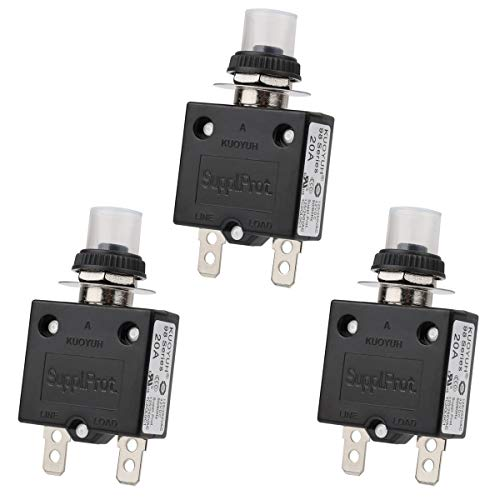 Clyxgs Thermal Circuit Breaker, 20 Amp Push Button Manual Reset Circuit Breaker 32V DC 125/250VAC 50/60Hz with Quick Connect Terminals and Waterproof Button Transparent Cap 3Pack