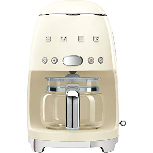 Smeg DCF02CRUK Drip Coffee Machine, 10 Cup Capacity, Auto-Start Mode, Reuseable...