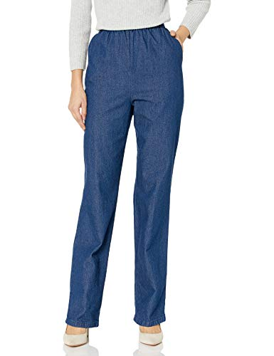 Chic Classic Collection Women's Cotton Pull-On Pant with Elastic Waist, Original Stonewash Denim, 14A