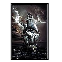 COWIAHE 海の海賊船壁アートポスター絵画プリントリビングルーム家の装飾-50X70CMフレームなし1個
