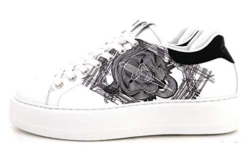 Cesare Paciotti 4US Herren Sneaker Leder, Weiß - Bianco - Größe: 41 EU Larga
