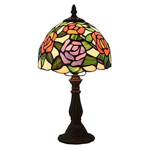 AWCVB Lámpara De Mesa Estilo Tiffany, 8 Pulgadas Pastoral Rosa Rosa Luz De Lectura De Lectura De Lectura para Sala De Estar