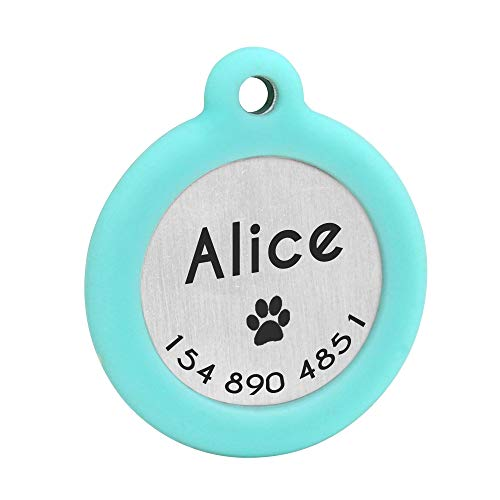 Didog Personalisierbare Hundemarke, leuchtend blinkend, mit Schalldämpfer zum Schutz der Marke & Gravur, Edelstahl, runde Form