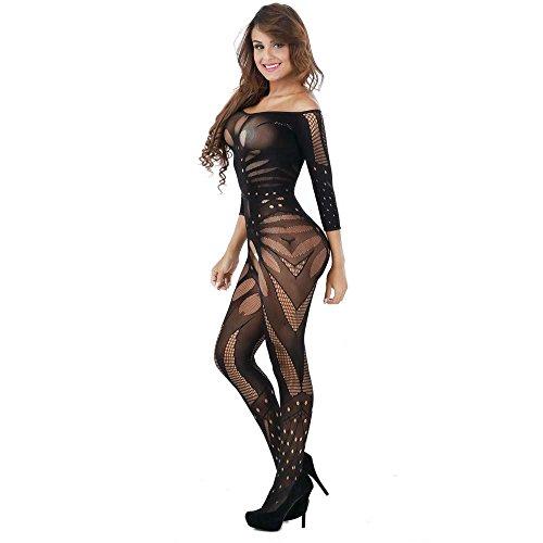 Doublehero Damen Reizvoller Jumpsuit,Mesh Dessous Set Fischnetz Babydoll Mini Kleid Free Size Bodysuit Nachtwäsche Lingerie Unterwäsche...