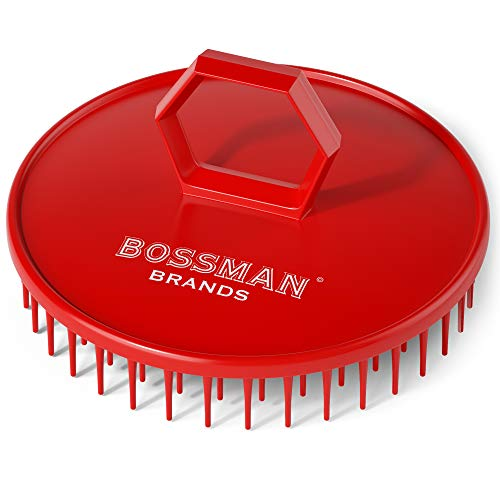 Bossman Scalp Massager and Shampoo Shower Brush - Head Scrubber - Beard Exfoliator - Hair and Beard Dandruff Control (Red)
