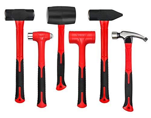 C&T 6-Piece Hammer Set, Fiberglass Handle & Mallet Set, With Shock Reduction Grip, Metal Working | Garage Home Kit | Mechanic Tools | Sledge Hammer | blacksmith Hammer | Ball Peen Hammers | Hand Tools