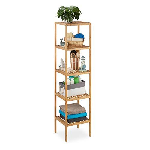 Relaxdays Badregal Bambus, Standregal Badezimmer & Küche, Bambusregal mit 5 offenen Ablagen, HBT 140 x 34 x 33 cm, natur, Braun