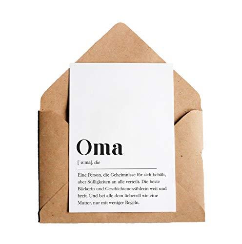 Grußkarte Oma: DIN A6 Karte mit Umschlag