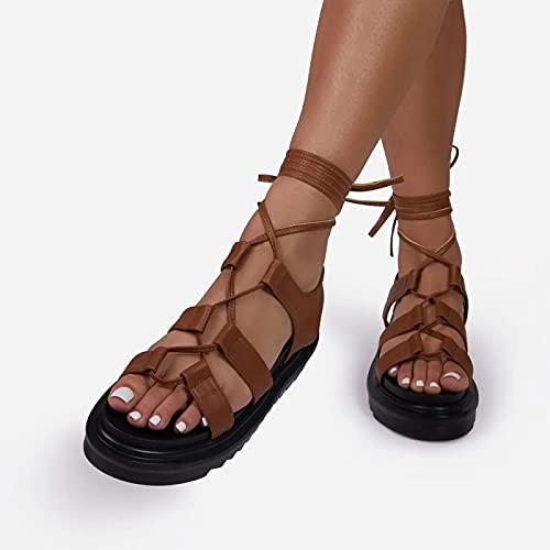QAZW Sandalias De Plataforma para Mujer Cuña Correa De Tobillo Slingback Sandalias De Punta Abierta Verano Casual Zapatos De Playa Zapatos De Vestir,Brown-36