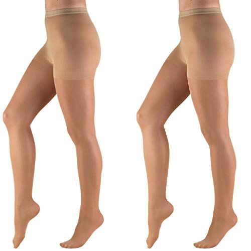 Truform Compression 8-15 mmHg Sheer Pantyhose Beige, Queen Plus, 2 Count