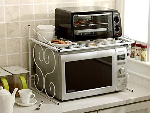 ZXL Rek voor planken, keuken van metaal magnetron rijstkoker houder voor oven multifunctionele mand voor keuken cadeau keuken (zwart)