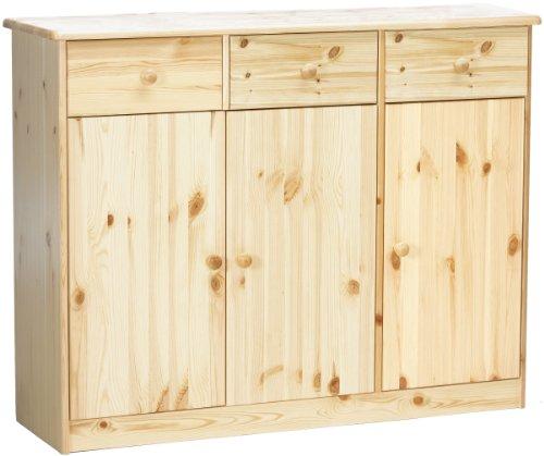 Steens Mario Anrichte, 3 Türen, 3 Schubladen, 114 x 89 x 34 cm (B/H/T), Kiefer massiv, natur lackiert