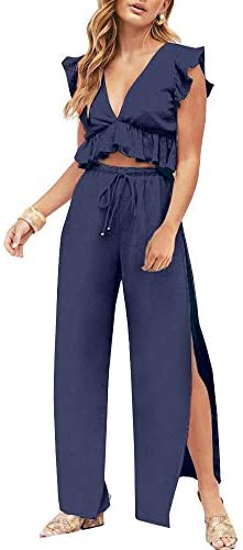 2 piece outfit pants and crop top _image0