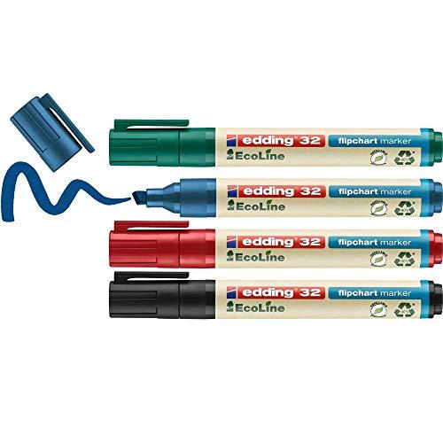 edding 32 EcoLine Flipchartmarker Set - bunte Farben - 4 Stifte - Keilspitze 1-5 mm - Stift zum Schreiben und Markieren auf Flipcharts - Tinte schlägt nicht durch Papier-trocknet nicht aus-nachfüllbar