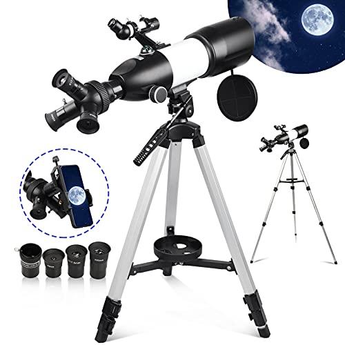Telescopio Astronomico Professionale Potente 80MM per Bambini Principianti Adulti Telescopio Monoculare con Smartphone Adattatore & Treppiede Bianco