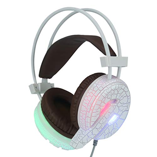 Gaming Headset, LED Light High Bass Noise Cancelling Headphone with Microphone, Large Ear Cover Design, for Laptop, PC, Mac, Ipad, Computer, Smartphones,White
