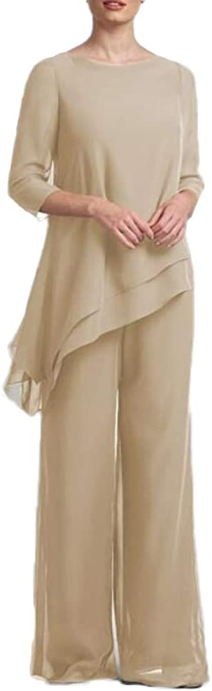 Women's Chiffon 2 Pieces Long Sleeves Mother of The Bride Pantsuits for Wedding
