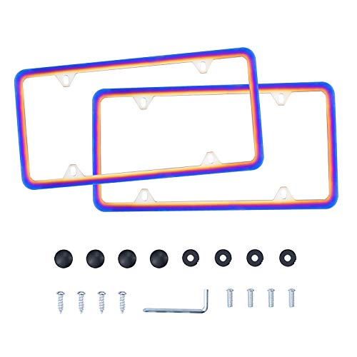 LivTee 4 Holes Colorful Roasted Blue Stainless Steel License Plate Frames, 2 PCS Car Licence Plate Covers Slim Design with Bolts Washer Caps for US Vehicles