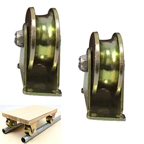 NIANXINN 2X Lenkrolle,Starre Schwerlastrollen,45# Stahl U Nut Starres Laufrolle Stahllager,Kapazität 200-1200kg,Für Umgekehrte Schiene,Rolltor,Industriemaschinen,Drahtseilschiene(U-type3in/79mm)