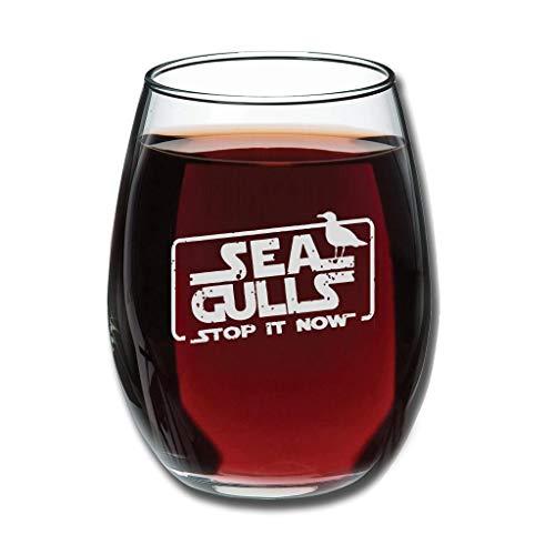 Bohohobo Libbey Weinglas ohne Stiel, Möwen, 350 ml, für Rot- und Weißweine geeignet, spülmaschinenfest, herzwärmendes Geschenk für Freunde