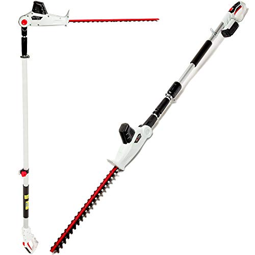 NETTA Cordless Pole Hedge Trimmer 20V - 510mm Diamond Cutting Blade - 16mm Tooth Opening - 2.4m Long Reach Telescopic Pole - 150° Angle Changing Head