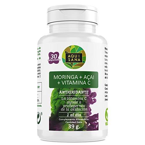 Moringa+Acai+Vitamina C-Aquisana | Ayuda a la perdida de peso |Libre de alérgenos - 30 comprimidos