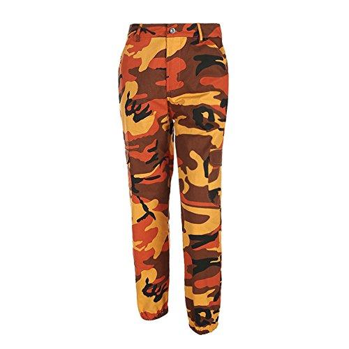 Lenfesh Damen Camouflage Hose Mädchen Military Hose Hip Hop Jogger Trainingshose (M, Orange)