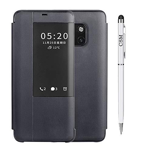 Capa inteligente C-Super Mall para Huawei Mate 20 Pro, capa com suporte de luxo inteligente com visualização clara [não é necessário virar para atender chamadas] Capa de telefone comercial com proteção total para Huawei Mate 20 Pro-(Preta)
