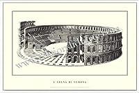 ポスター ヴェローナ larena di Verona 額装品 アルミ製ハイグレードフレーム(ホワイト)