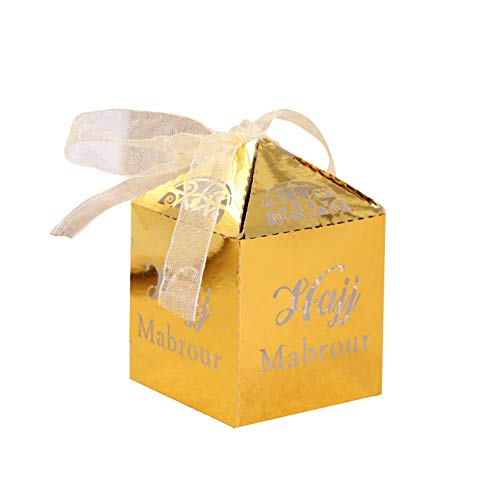 50 Stks Letter Holle Snoep Dozen Favor Houder Bruiloft Party Chocolade Geschenkdoos 1.97 x 1.97 x3.15 Inch goud