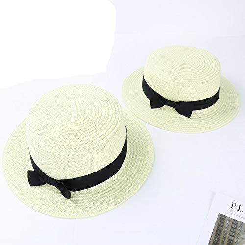Shihuawu Sombrero de Playa de Verano para Mujer Sombrero para el Sol Sombrero de Paja Popular Sombrero de Calle Sombrero de Paja Hecho a Mano -Blanco-niño-G0818