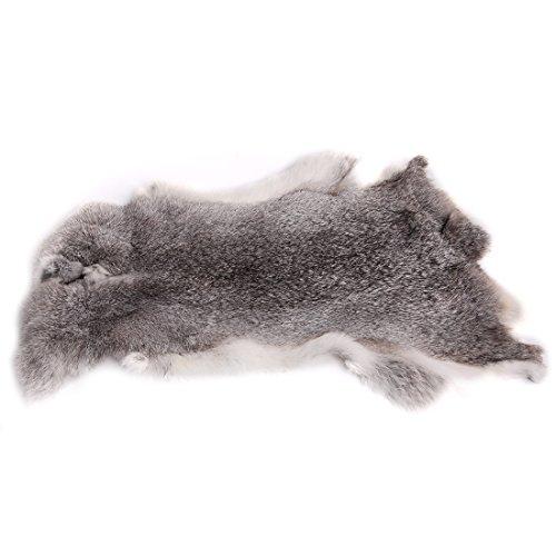URSFUR Erstklassige Felle aus Kaninchen Echte Tierfell Kaninchenfell Kanin Hasenfell 18.5 * 11Inches -grau