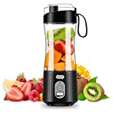 Portable Blender, Personal Size Blender for Smoothies, Juice and Shakes, Mini Blender with Powerful Motor 4000mAh Rechargeable Battery, Six Blades, for Home, Travel, Office (Black)