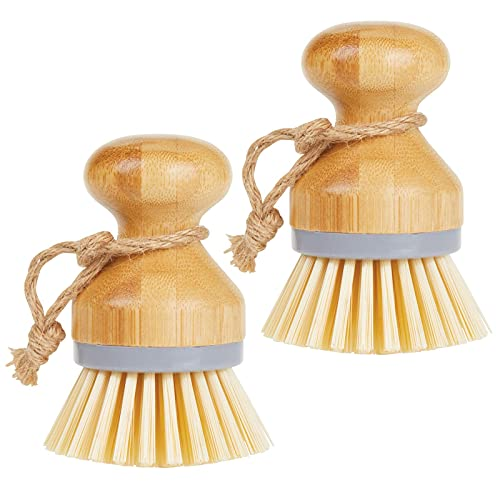 mDesign Juego de 2 cepillos de bambú para fregar platos – Cepillo redondo para lavar ollas, sartenes, platos y cubiertos – Brocha de cocina, adecuada para limpiar verduras – gris/natural