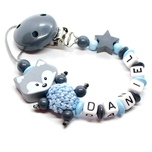 Schnullerkette mit Namen für Junge & Mädchen | VIELE INDIVIDUELLE MODELLE | Personalisierte Nuckelkette mit Wunschnamen (fuchs, grau, stern)
