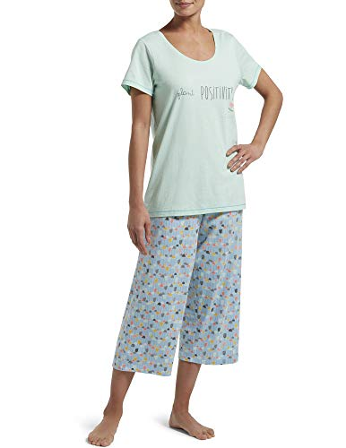 HUE Women's Plus Size Printed Knit Short Sleeve Tee and Capri 2 Piece Pajama Set, Green Mailieu - Plant Positivity, 3X