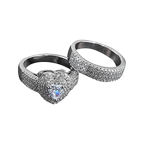 Younoo1 - Anillo para mujer con diamantes en forma de corazón, anillo de compromiso, anillo de boda, compromiso, regalo de cumpleaños