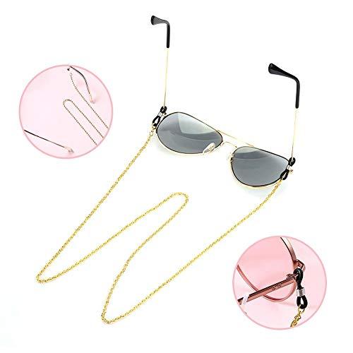 Lenzenvloeistof nek koord String 2 stuks, gouden bril zonnebril leesbril spektakelhouders, riemhouder kettinghouder Lanyard retainer riem