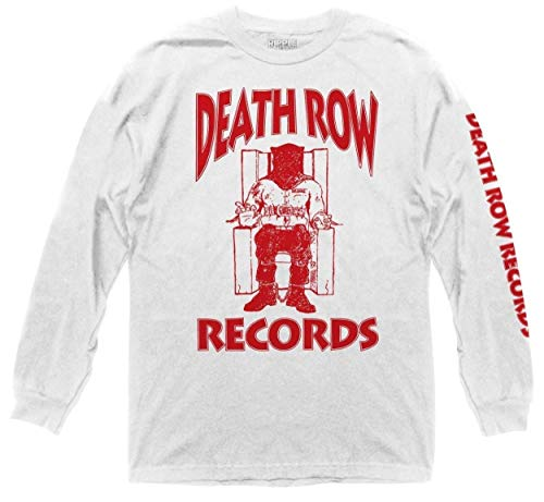 Ripple Junction Death Row Records Adult Logo Light Weight 100% Cotton Long Sleeve MD White