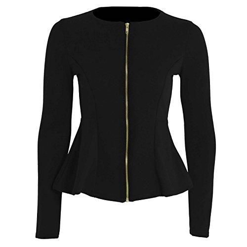 Chaqueta para Mujer, color liso con cremallera y Péplum con volante, Blazer ajustada de talla grande, 36 - 52 Negro 38
