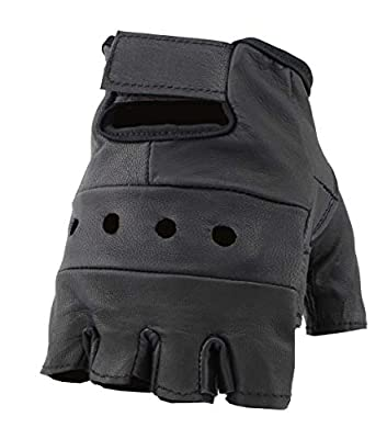 The Bikers Zone Men's Leather Fingerless Gloves, Soft Lambskin Leather (Colors)